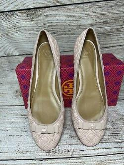 NEW Tory Burch Ballet Flats Leather Shoes Marion Quilted Flat Pink Size 9.5 NWT
