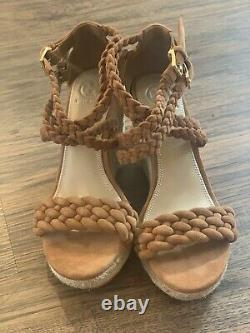 NEW! Tory Burch Brown Wedge Sandal Shoe Size 6