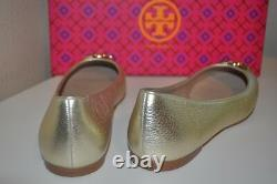 NEW Tory Burch CLAIRE Ballerina Ballet Flat Shoe Metallic Spark GOLD Leather 9