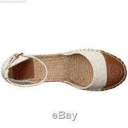 NEW Tory Burch Colorblock White Brown Ankle Strap Espadrilles Sandals Size 8.5