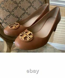 NEW Tory Burch Everly 50MM Cap Toe Leather Pump Shoes in Cognac Brown size 8