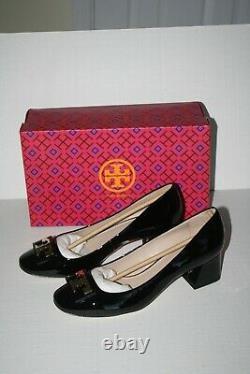 NEW Tory Burch GIGI pump black patent 2 block heel women logo shoes 8.5 NIB