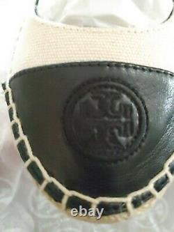 NEW Tory Burch Ivory Cream & Black Color Block Espadrille Low Wedge Shoes 7