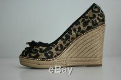NEW Tory Burch'Jackie' Peep Toe Espadrille Wedge Leopard Print Size 6.5