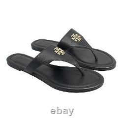 NEW Tory Burch Jolie Flat Thong Tumbled Leather Sandal Shoes Black