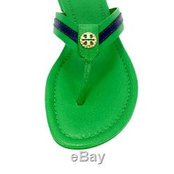 NEW Tory Burch Logo Maritime Thong Leather Sandal Shoes In Court Green/Navy Sea