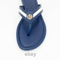 NEW Tory Burch Logo Maritime Thong Leather Sandal Shoes In Navy Sea/White Size 8