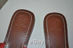 NEW Tory Burch MOORE Poppy Coral Tumbled Leather Thong Sandal Logo Shoe Sz 7