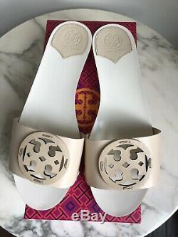 NEW Tory Burch Miller Leather Slides Sandals Shoes 30mm Cream off-white 9