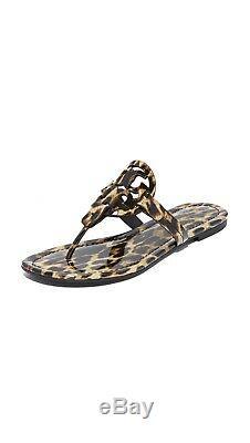 NEW Tory Burch Miller Logo Thong Sandal Slide Flats Leopard Patent Leather 6.5 7