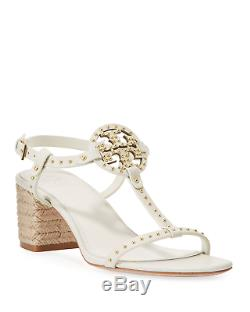 NEW Tory Burch Miller Studded T-Strap Espadrille Sandals Shoe Ivory off-white 10