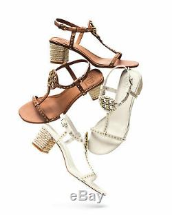 NEW Tory Burch Miller Studded T-Strap Espadrille Sandals Shoes Ivory off-white 9