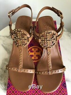 NEW Tory Burch Miller Studded T-Strap Espadrille Sandals Shoes Tan Brown 9