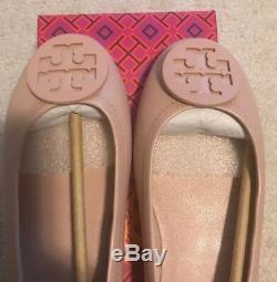 NEW Tory Burch Minnie Travel Ballet Slip On Logo Goan Sand Size 9 NIB