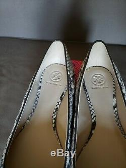 NEW Tory Burch Raleigh Logo Ballet Flat, Roccia, Coconut, Gold, Baby snake 11