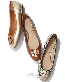 NEW Tory Burch Raleigh Logo Ballet Flats Roccia Coconut Gold Snake Shoes 9
