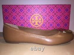NEW Tory Burch Reva Royal Tan Ballet flat Shoe Tumbled Leather Gold Logo 8.5 US
