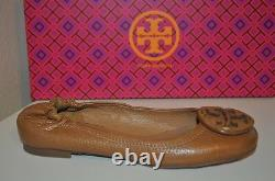 NEW Tory Burch Reva Tan Ballet Flat Shoe Pebbled Leather Logo Brown Sand Sz 4.5