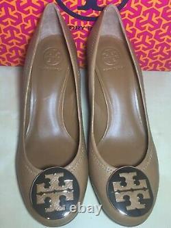 NEW Tory Burch Sally Sally Brown Logo Wedge Pump Shoe 10 M