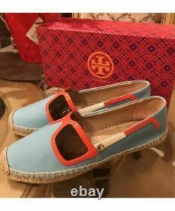 NEW Tory Burch Sunny Espadrille Leather Slip-On Flat Shoe Jewel Oasis Sz 10.5