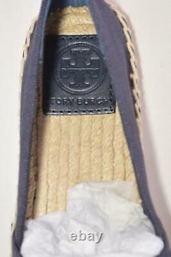 NEW Tory Burch Women's Blue Patent Canvas Espadrille Slides Sandals Shoes 5