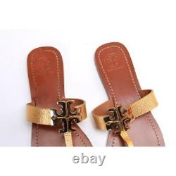 NEW Tory Burch sandals MOORE leather flip flop gold shoes womens sz 8 M