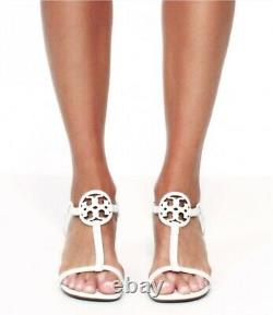 NEW auth $268 TORY BURCH sz 10 Miller White Leather T-Logo SHOES Wedge SANDALS
