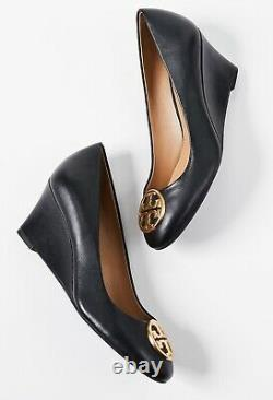 NEW auth $278 TORY BURCH 7 Chelsea Black Leather T-Logo SHOES 65mm Wedge Pumps