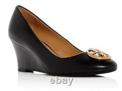NEW auth $278 TORY BURCH 8 Chelsea Black Leather T-Logo SHOES 65mm Wedge Pumps