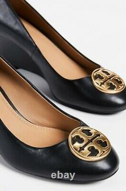 NEW auth $278 TORY BURCH 9 Chelsea Black Leather T-Logo SHOES 65mm Wedge Pumps