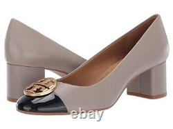NEW auth $298 TORY BURCH 10 Chelsea Cap Toe Taupe Leather T-Logo SHOES Pumps