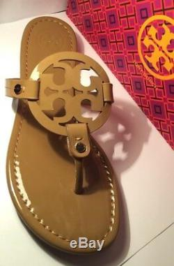 NEw Tory Burch Nude Patent Leather Miller Logo Sandals Size 8M /