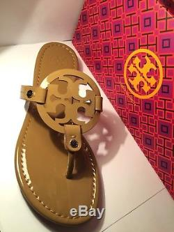 NEw Tory Burch Nude Patent Leather Miller Logo Sandals Size 8M