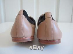 NIB $225 Tory Burch Jolie Leather Two tone Ballet Flats Beige Nude Black sz 8