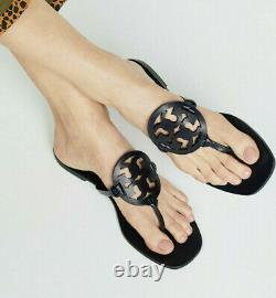 NIB $235 Tory Burch Miller Square Toe Thong Medallion Sandals Shoes Navy sz 6