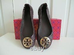NIB $238 Tory Burch Quilted Minnie Ballerina Flat Shoes Malbec Gold sz 8.5 Wine