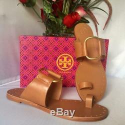 NIB $248 TORY BURCH Ravello Toe Ring Studded Leather Flat Sandal Tan Sz 10M
