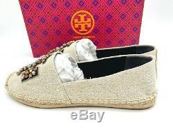 NIB $248 Tory Burch Ines Embellished Logo Flat Canvas Espadrille Slip On Shoe 9M