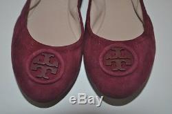 NIB $250 Tory Burch ALLIE Logo Ballet Flat Shoe BURGUNDY Borscht Logo Suede S 13