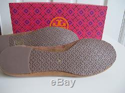 NIB $250 Tory Burch Reva Sequin Leather Ballet Flats Shoes Gold Copper sz 8