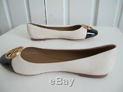 NIB $259 Tory Burch Chelsea Cap Toe Ballet Flat Shoes Medallion Cream Black sz 9