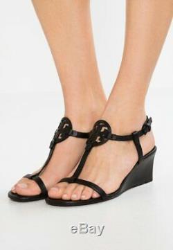 NIB $265 Tory Burch Miller Wedge 60mm Sandals Shoes Medallion Tumble Black 8.5