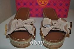 NIB $265+ Tory Burch Penny Cork Wedge Slide Sandal Shoe Camellia Pink Beige 9.5