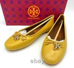 NIB $268 Tory Burch Women's Tory Logo Charm Ballet Flat Shoe Sz 9M In YELLOW
