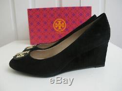 NIB $278 Tory Burch Luna 65 Wedge Pumps Heels Suede Shoes Black sz 9 Chelsea