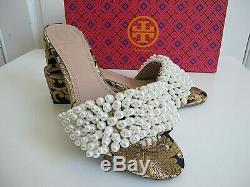 NIB $348 Tory Burch TATIANA Beaded PEARL Slide Sandals Brocade Shoes sz 7.5