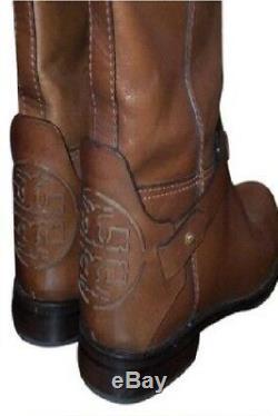 NIB$550 Tory-Burch-Derby-Almond-leather-riding-boot-brown-logo-zipper Sz 10