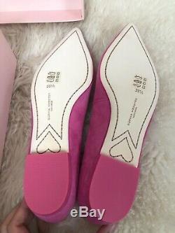 NIB Sophia Webster Bibi Butterfly Flats Pink Magenta Rose Tory Burch Suede 39.5