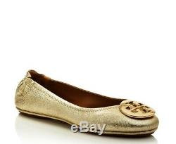 NIB TORY BURCH $228 SPARK GOLD MINNIE TRAVEL BALLET FLAT SHOE/Sz 6