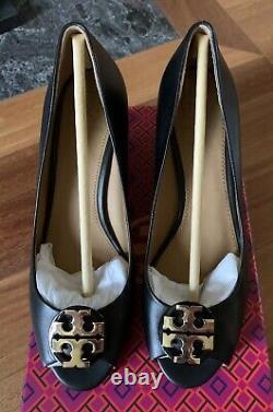 NIB TORY BURCH Claire 65MM Peep Toe Leather Wedge Pump BLACK Women shoes Sz 8.5M